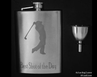 Etched Golf Flask by Jackglass on Etsy