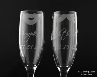 Exquisite Custom Etched Wedding Flutes by Jackglass on Etsy
