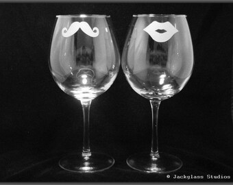 Etched His and Hers Wine Glasses by Jackglass on Etsy