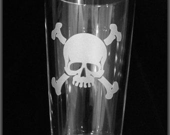 Etched Skull and Crossbones Hiball Tumbler by Jackglass on Etsy