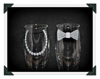 Personalized Etched His And Hers Bow Tie and Pearl Necklace Champagne Toasting Flutes for the Bride and Groom by Jackglass on Etsy