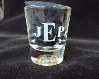 Etched Glass Shot Glass for Groom, Groomsman, Ushers, FOB, Wedding Party by Jackglass on Etsy