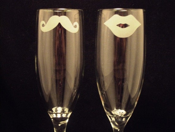 His and Hers Mustache and Lips Champagne Flutes by Jackglass on Etsy