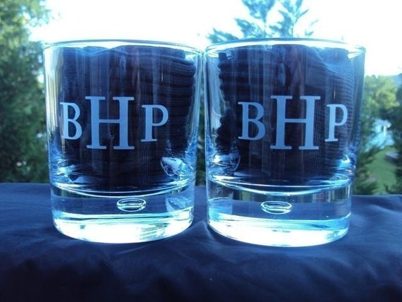 Etched Pair Personalized Straight Sided Rocks Glass  by Jackglass on Etsy
