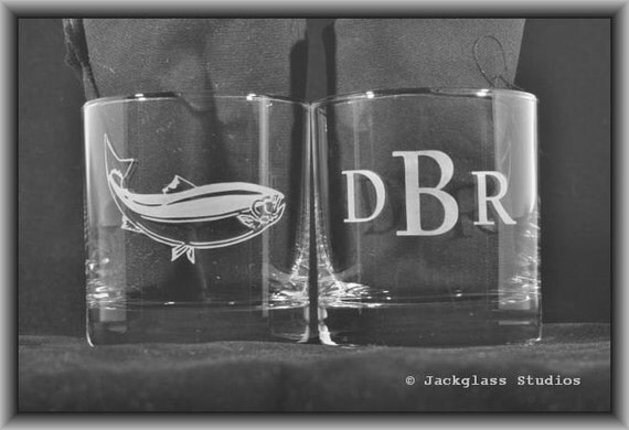 Personalized Fish Rocks Glasses Sand-Carved Fishing, Salmon, Outdoorsman Gift, Father of the Bride, Groomsman Gift by Jackglass on Etsy