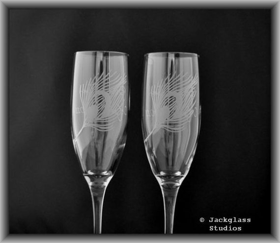 Etched Peacock Feather Wedding Champange Toasting Flutes by Jackglass on Etsy