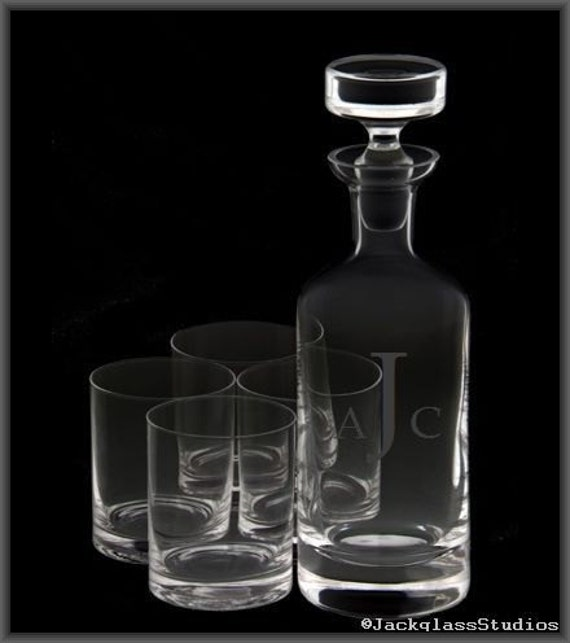 Etched Crystal Decanter Set by Jackglass on Etsy