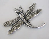 Antiqued Silver Dragonfly Stamping  45x37mm, Made in USA