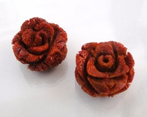 2 Sponge Coral Red Rose 15mm Cabachons