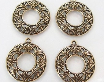 4 Antique Gold Filigree 17mm Round Charm, Made in USA, AG35