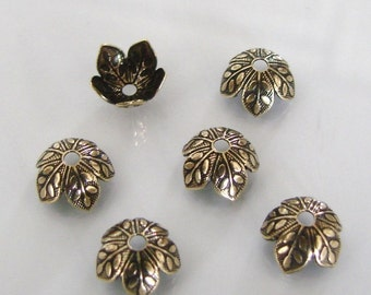6 Antique Gold 8mm Leaf Design Bead Caps, Made in USA, AG19
