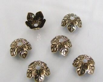 6 Antique Gold 8mm Leaf Design Bead Caps, Made in USA