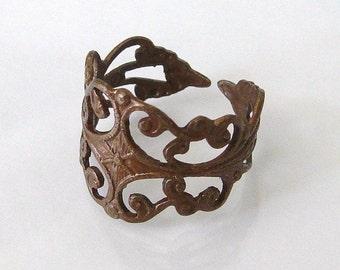 Vintage Patina Filigree Adjustable Statement Ring