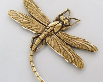Antiqued Gold Dragonfly Stamping  45x37mm, Made in USA, AG20