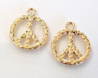 2 Vermeil Peace Charms 14mm, MADE IN USA, Lead and Nickel Free