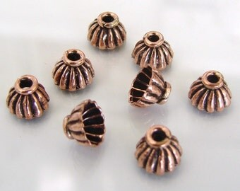 40 Oxidized Solid Copper 6mm Bali Style Bead Caps