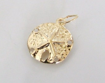 Sand Dollar Sea Life Charm - 14K Gold Filled With Soldered Ring, Made in USA, GC5