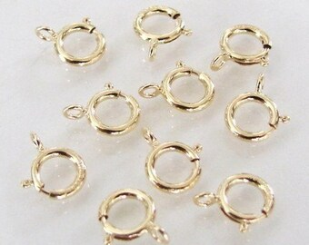 20pcs - 14K Gold Filled 6mm Spring Ring Clasp, Made in Italy