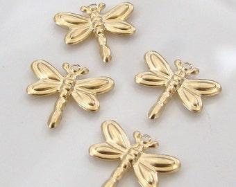 2 Pcs. - 14K Gold Filled Tiny Dragonfly Charms 14x13mm, GC14