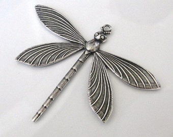 1 Antique Silver Dragonfly Pendant 64 x 51mm, Made in USA