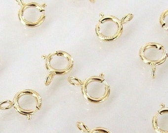 100 Pcs - 14K Gold Filled 5mm Spring Ring Clasp, Made in Italy