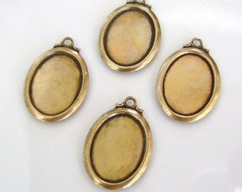 4 Antique Gold Oval Setting 13x18mm - Trinity Brass Co., Lead and Nickel Free