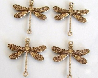 10 Antique Gold - Brass Dragonfly Connectors 17x16mm, Made in USA