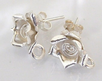 Sterling Silver Detailed Rose Post Earrings, With Ring For Dangles And Drops - One Pair, MADE IN THAILAND