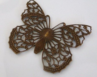Vintage Patina Filigree Butterfly 48x40mm - Vintage Look - Trinity Brass Co.