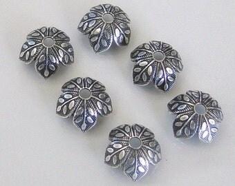 6 Antique Silver 8mm Leaf Design Bead Caps