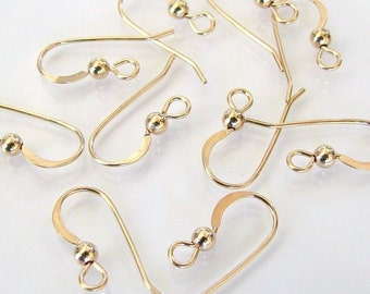 10pcs 14K Gold Filled French Ear Wires With 3mm Ball, MADE IN USA