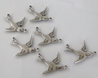 6 Antique Silver - Brass Swallow Bird Connectors (East), Made in USA