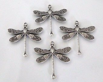4 Antique Silver - Brass Dragonfly Connectors 17x16mm, Made in USA