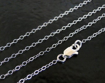 16 Inch Solid Sterling Silver Cable Chain Necklace - Custom Lengths Available