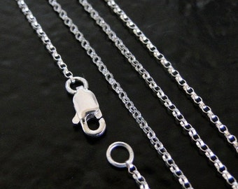 24 Inch Sterling Silver 1.2mm Rolo Chain Necklace - All Lengths Available, Made in USA/Italy
