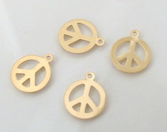 2 Pcs. - 14K Gold Filled Peace Sign Charms - 12 x 14mm