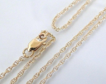 ANY LENGTH 14K Gold Filled 1.3mm Rope Chain With Clasp - Custom Lengths Available, Made in USA/Italy