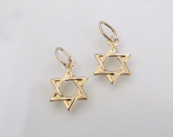 2 Pcs. - 14K Gold Filled Star of David Charms 8x8mm, GC23