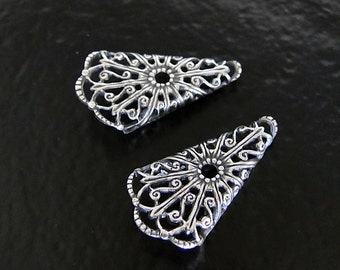 2 Antique Silver Folded Filigree Triangle Cone 16x29mm, Made in USA