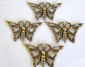 4 Antique Gold Butterfly Stampings 35x21mm, MADE IN USA, Lead and Nickel Free