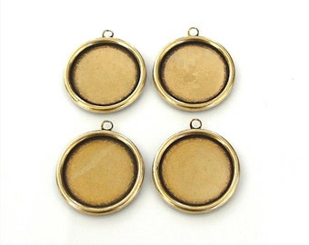 4 Antique Gold Settings 18mm - Trinity Brass Co.