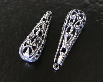 2 Antique Silver Folded Filigree Triangle Cone 9x27mm