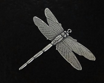 1 Antique Silver Dragonfly Pendant 43 x 49mm - Trinity Brass Co.