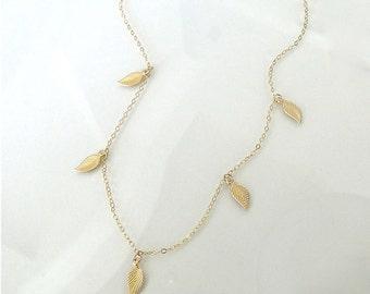 Dangling Leaf Necklace - 14k Gold Filled