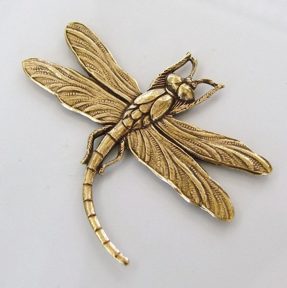 Antiqued Gold Dragonfly Stamping  45x37mm