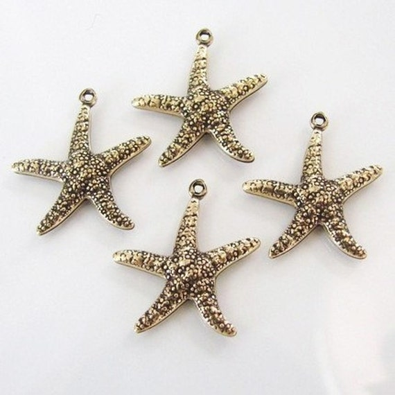4 - Antique Gold Double Sided Star Fish Charms 20x23mm - Vintage Look - Trinity Brass Co.