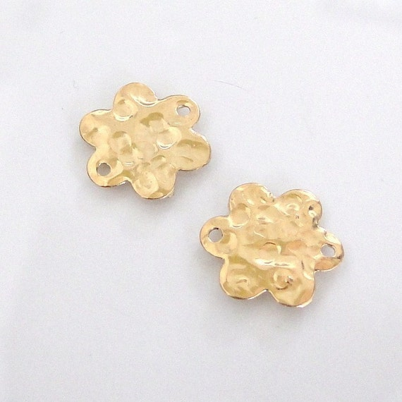 2 Hammered Gold Filled Flower Links, Connectors, Charms, or Station Pieces