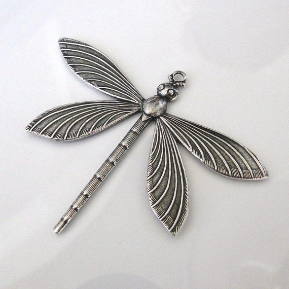 1 Antique Silver Dragonfly Pendant 64 x 51mm