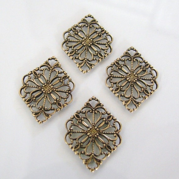 6 Antique Gold Filigree Diamond Connector, Pendant or Drop 15x21mm