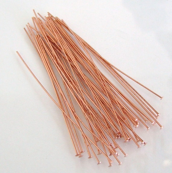 100 Solid Copper - 2 Inch 24g Flat Headpins